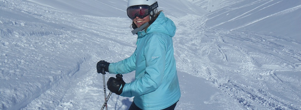 Annie skiing near Meribel and La Tania
